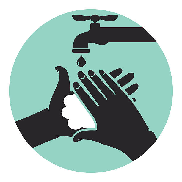 Hand washing icon, isolated vector illustration.